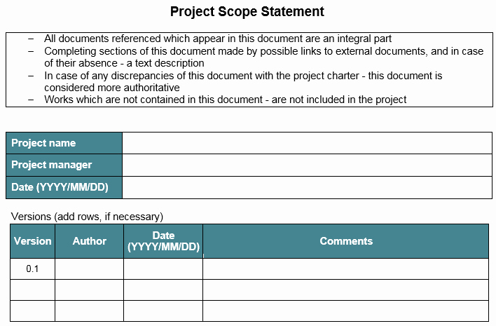 Project Management Scope Template Best Of Template – Project Scope Statement – Great Project Manager