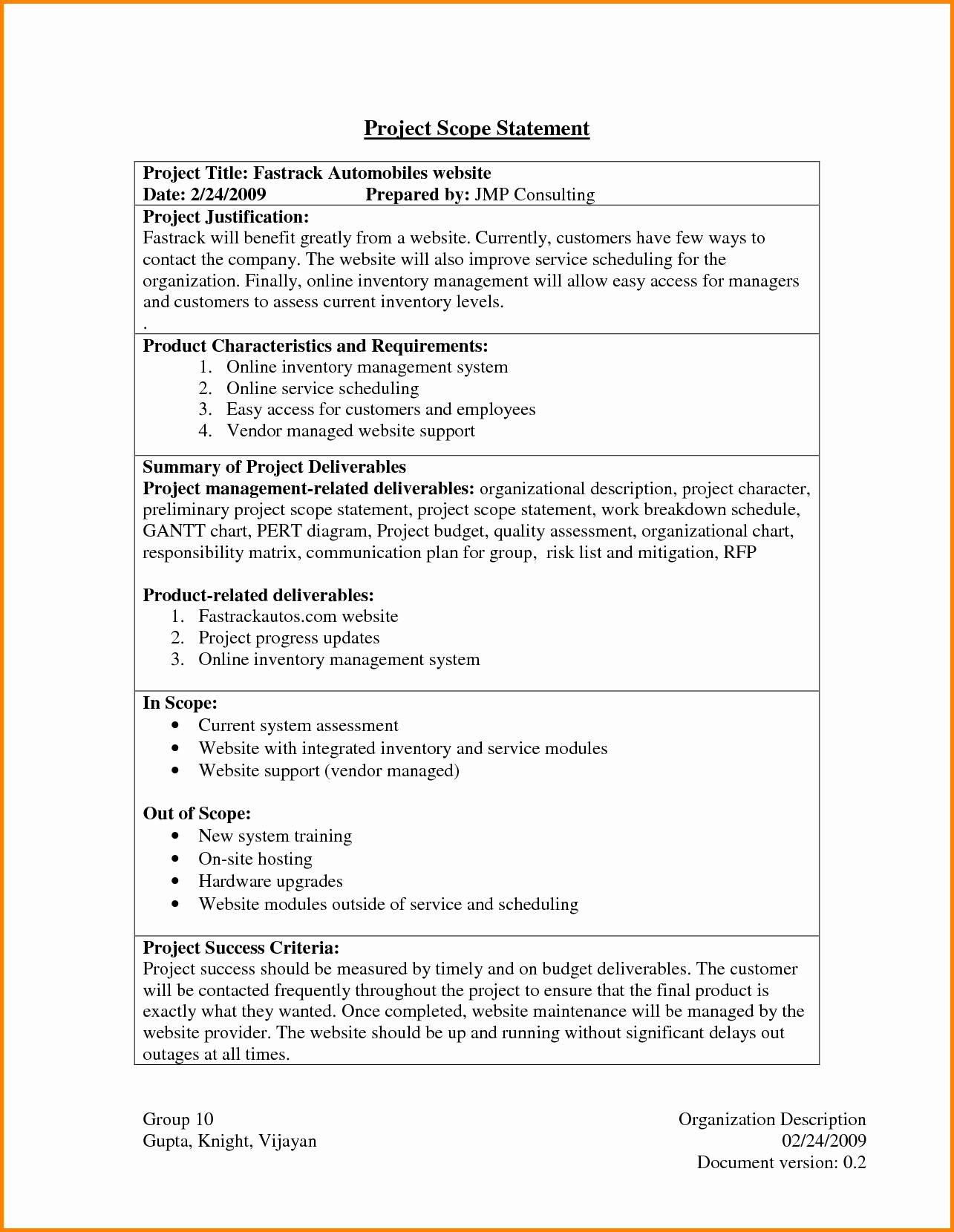Project Management Scope Template Fresh Project Scope Statement Example