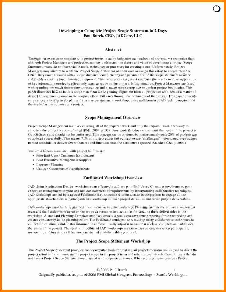 Project Management Scope Template New Project Scope Management Example