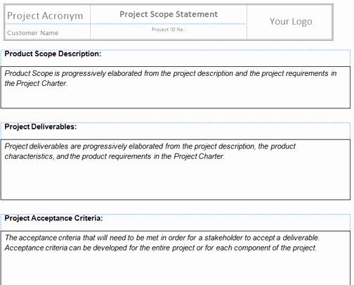 Project Management Scope Template Unique Project Management Scope Template