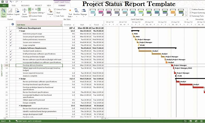 Project Management Status Report Template Beautiful Microsoft Project Status Report Template Project