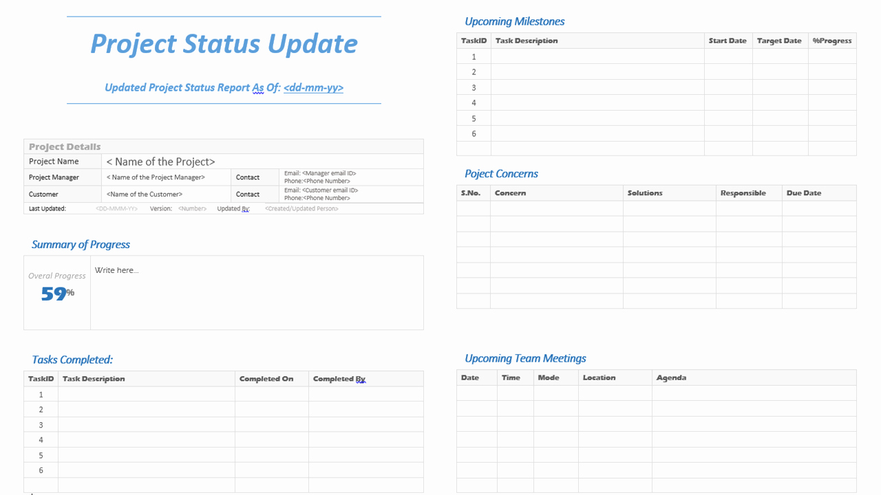 Project Management Status Report Template Beautiful Project Status Update Template Analysistabs Innovating
