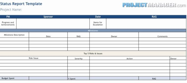 Project Management Status Report Template Inspirational Status Report Template Projectmanager