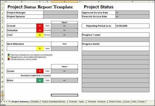 Project Management Status Report Template Unique Project Report Template