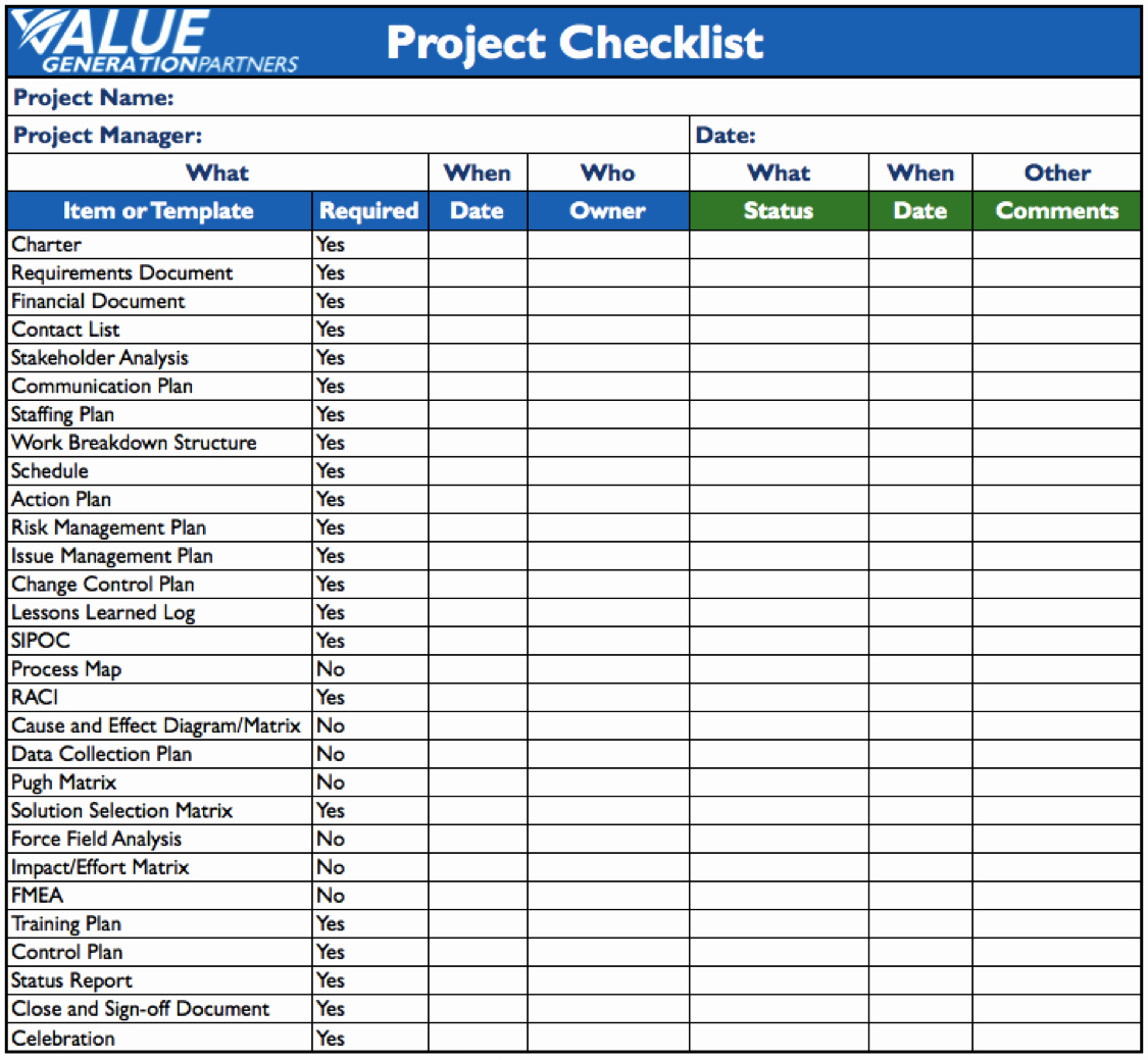 Project Management Template Word Awesome Generating Value by Using A Project Checklist – Value