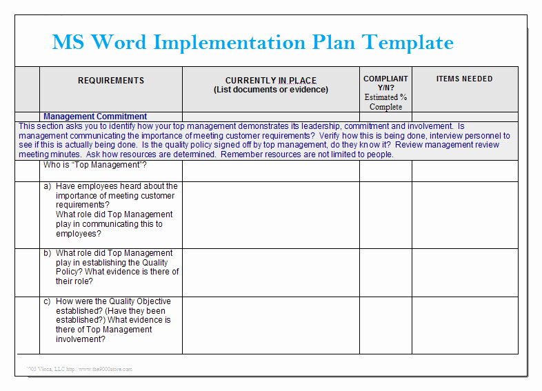 Project Management Template Word Fresh Ms Word Implementation Plan Template – Microsoft Word