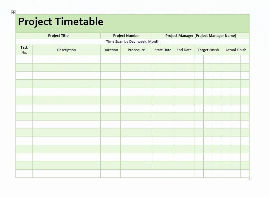 Project Management Template Word Lovely Project Timetable – Word Template – Microsoft Word Templates