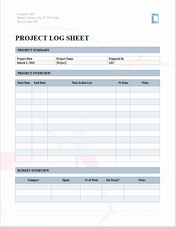 Project Management Template Word Luxury Project Log – Word Template – Microsoft Word Templates