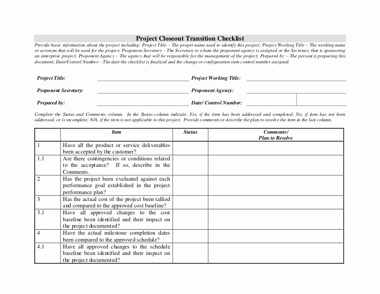 Project Management Transition Plan Template Elegant Project Closeout Transition Checklist