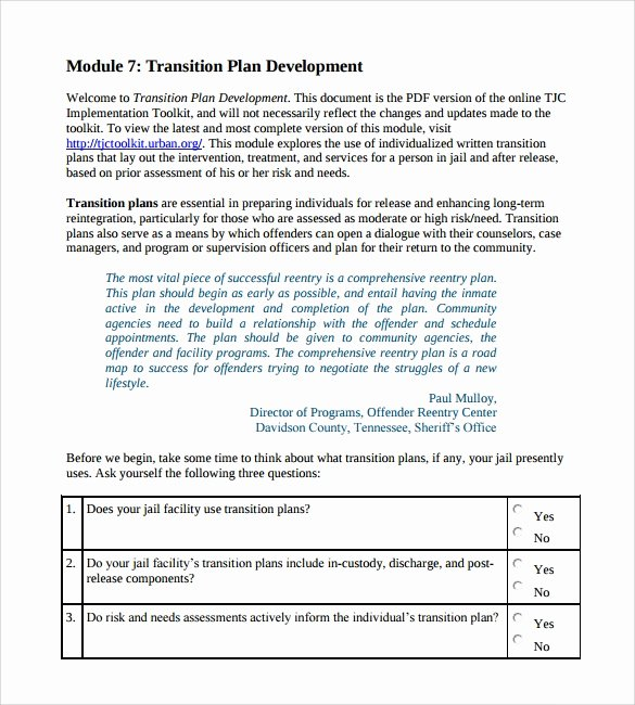 Project Management Transition Plan Template Elegant Transition Plan Template 9 Download Documents In Pdf