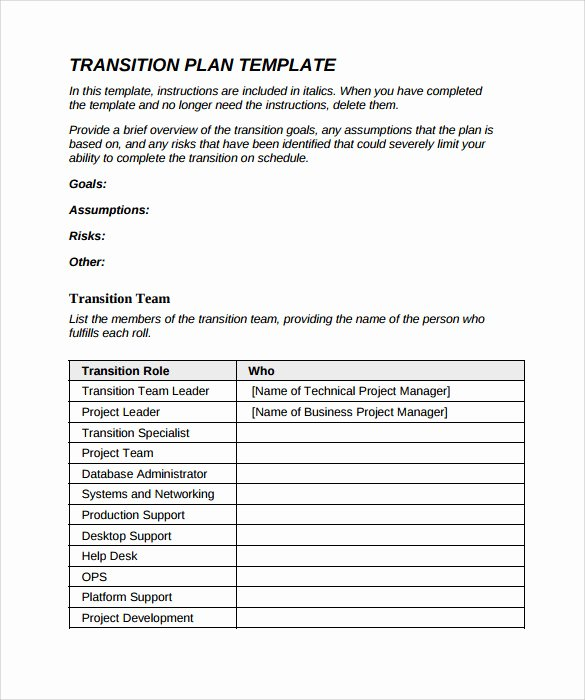 Project Management Transition Plan Template Lovely 9 Sample Transition Plans – Pdf Word Pages