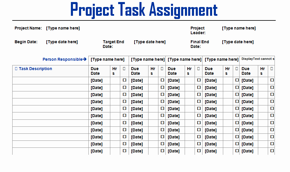 Project Management Word Template Awesome Project Task assignment Word Template Microsoft Project