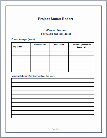 Project Management Word Template Best Of Project Status Report Template – Microsoft Word Templates