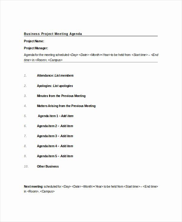 Project Meeting Minutes Template Fresh Project Meeting Agenda Template