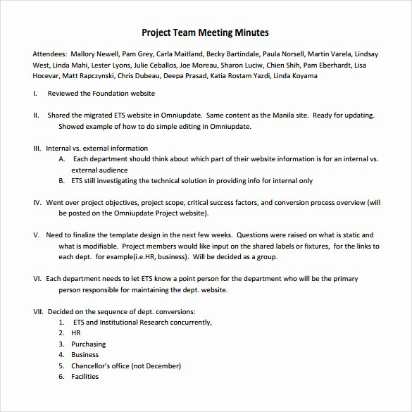 Project Meeting Minutes Template New 13 Project Meeting Minutes Templates to Download