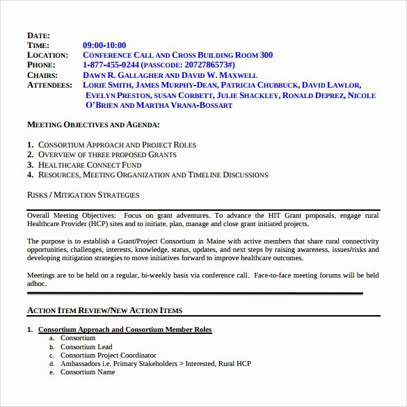 Project Meeting Minutes Template Unique 13 Project Meeting Minutes Templates to Download