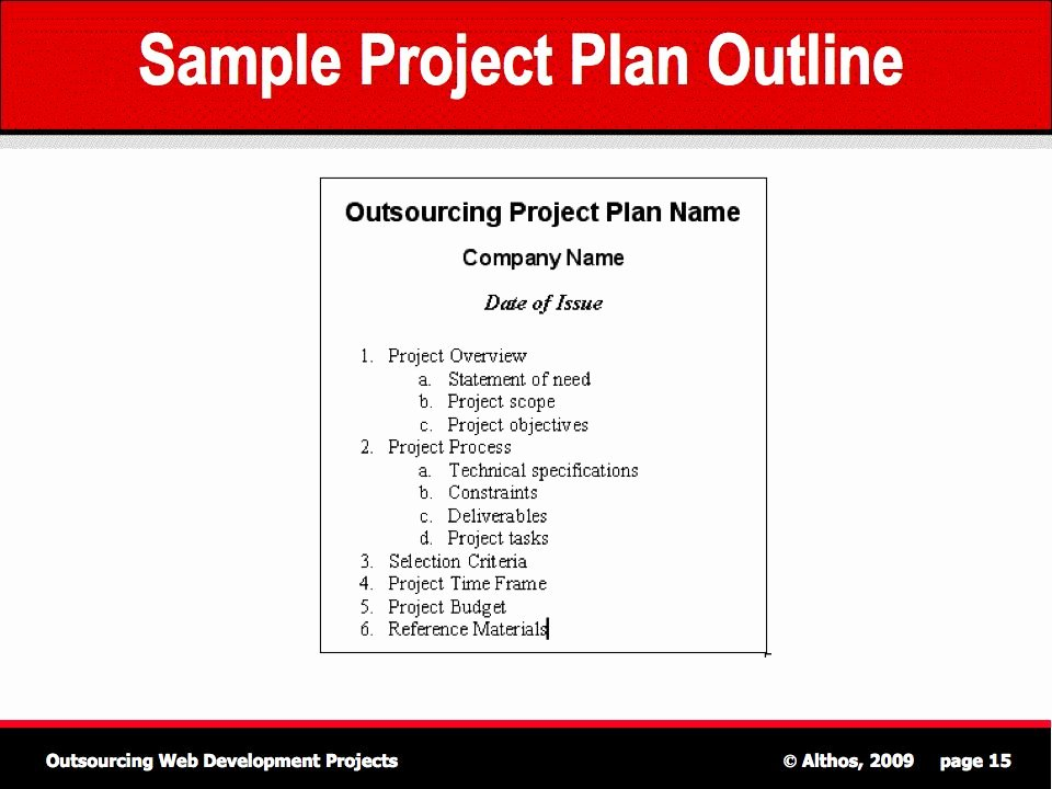 Project Plan Outline Template Elegant Outsourcing Tutorial Sample Project Plan Outline