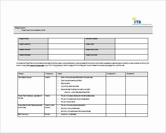 Project Plan Template Word Best Of 9 Project Munication Plan Templates Pdf Word format