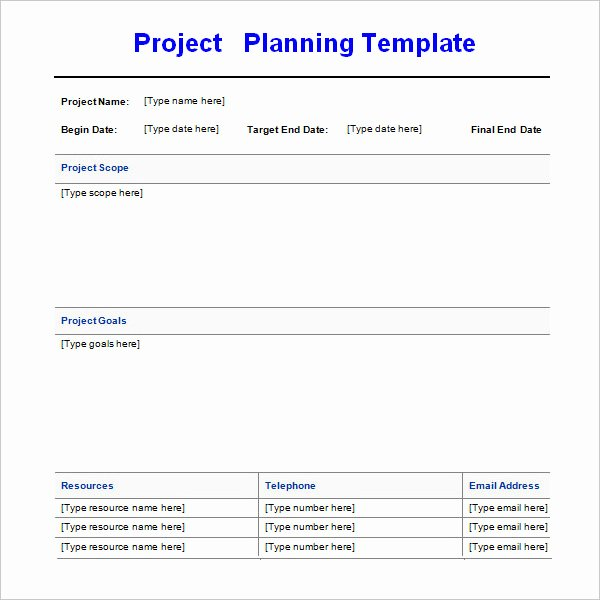 Project Plan Template Word Elegant Project Planning Template 4 Free Download for Word
