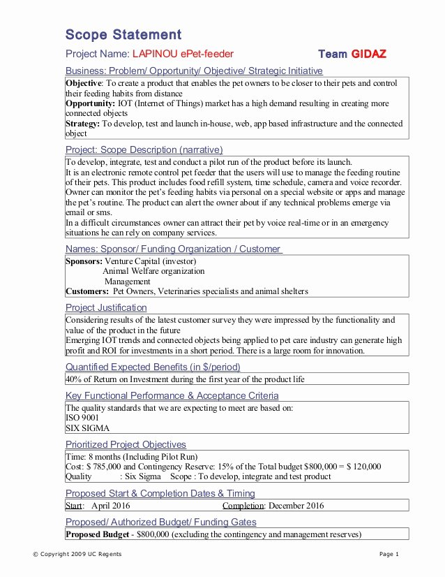 Project Scope Statement Template Awesome Scope Statement Final