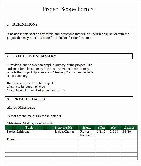 Project Scope Statement Template Best Of 3 Free Project Scope Statement Templates Word Excel