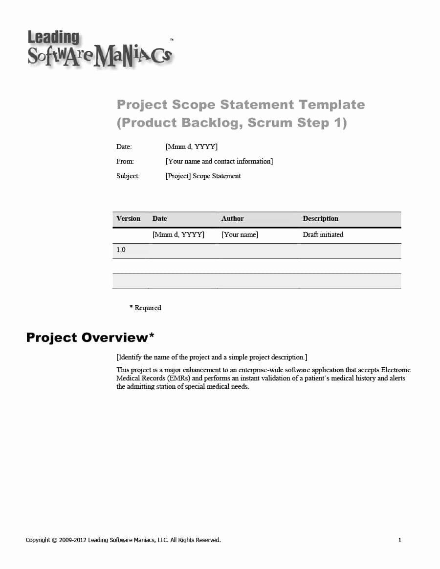 Project Scope Statement Template Elegant 43 Project Scope Statement Templates & Examples Template Lab