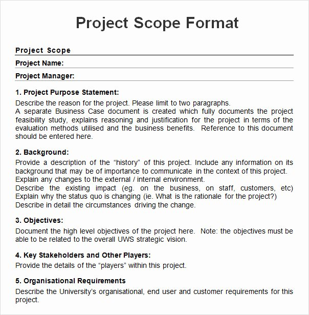 Project Scope Statement Template Elegant Project Scope Example Pdf