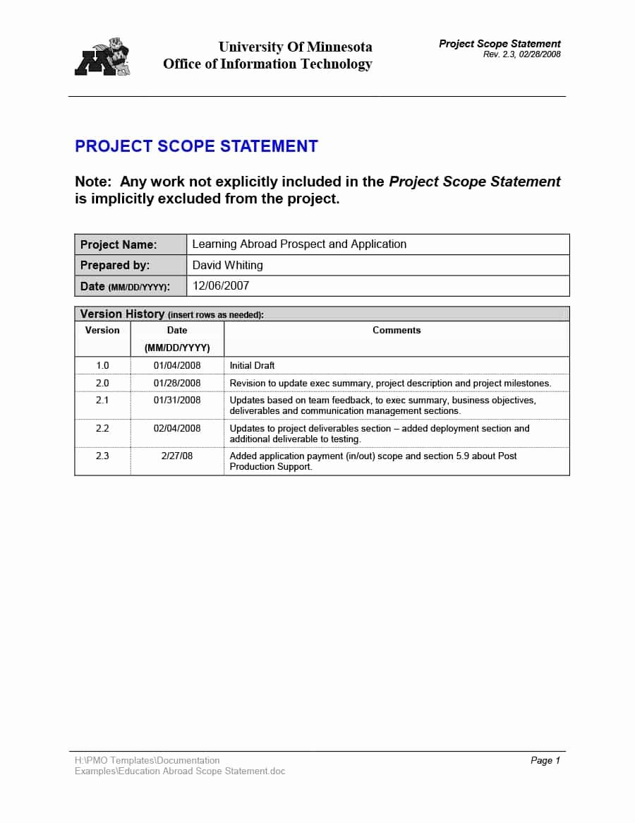 Project Scope Statement Template Fresh 43 Project Scope Statement Templates & Examples Template Lab
