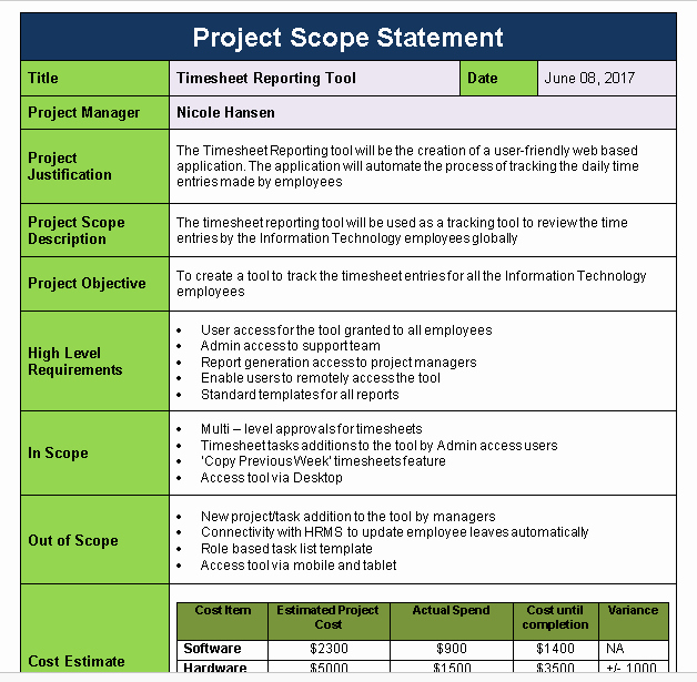 Project Scope Statement Template Fresh Project Scope Statement Template Download now Free