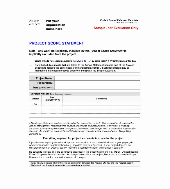 Project Scope Statement Template Fresh Statement Templates – 30 Free Word Excel Pdf Indesign