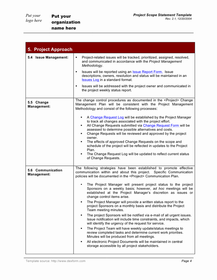 Project Scope Statement Template Inspirational Project Scope Statement Template In Word and Pdf formats