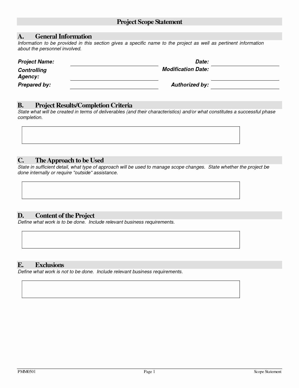 Project Scope Statement Template Inspirational Project Scope Template