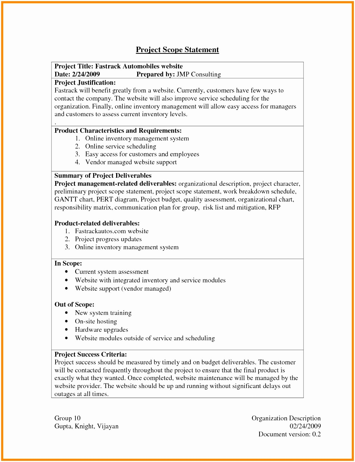 Project Scope Statement Template Lovely 5 Contract Statement Work Template Treee