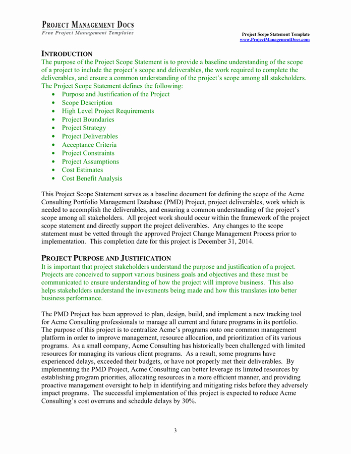 Project Scope Statement Template Lovely Project Scope Statement Template In Word and Pdf formats