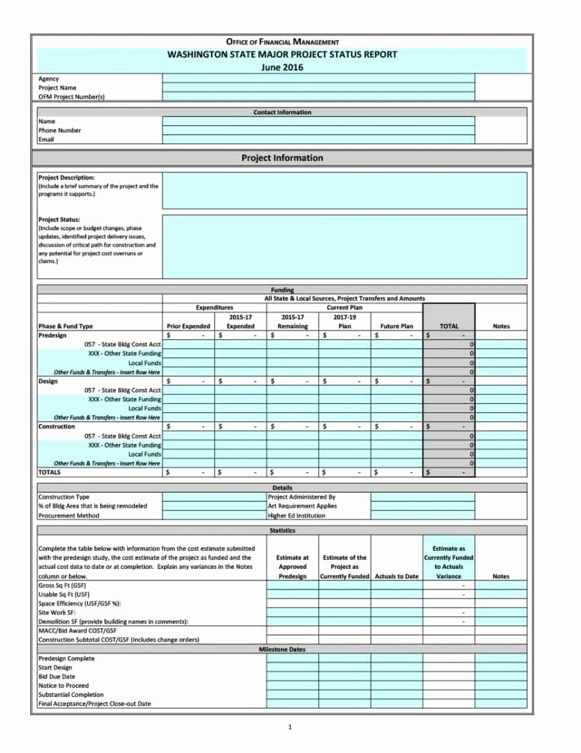 Project Status Report Template Excel Beautiful Project Status Report Template