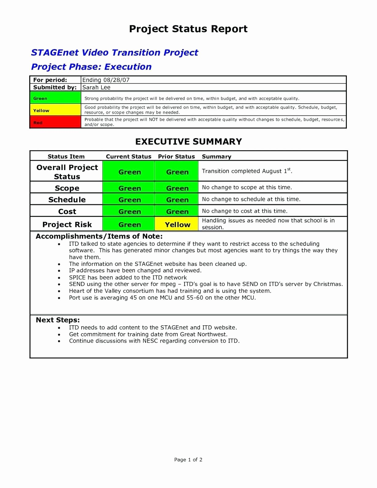 Project Status Report Template Excel Elegant Template Customer Status Report Template Monthly Project