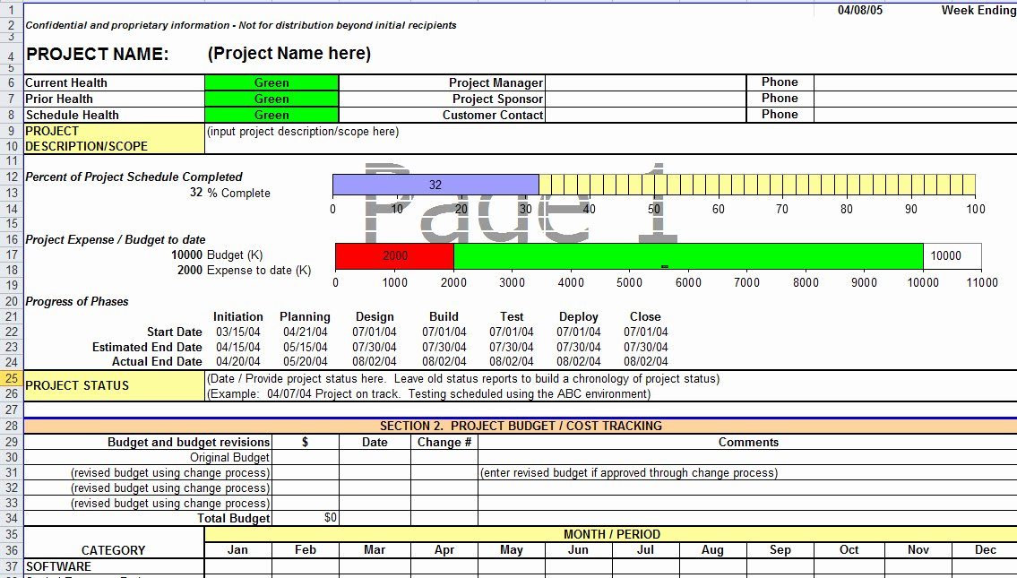 Project Status Report Template Excel New Project Status Report Template In Excel