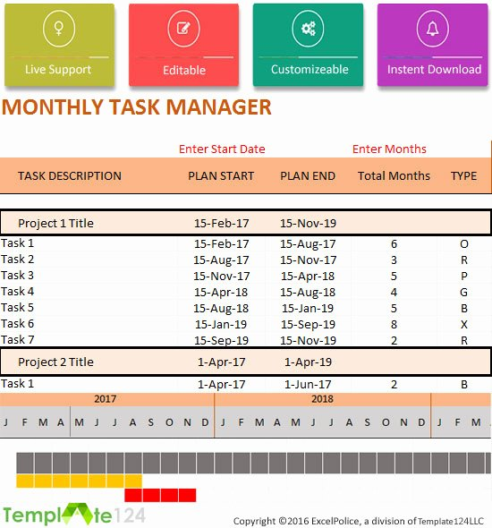 Project Task List Template Excel Awesome Monthly Project Task Manager Template Xlsx format