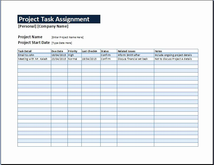 Project Task List Template Excel Awesome Project Task assignment Management Sheet