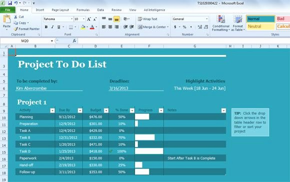 Project Task List Template Excel Beautiful Project Task List Template for Excel 2013