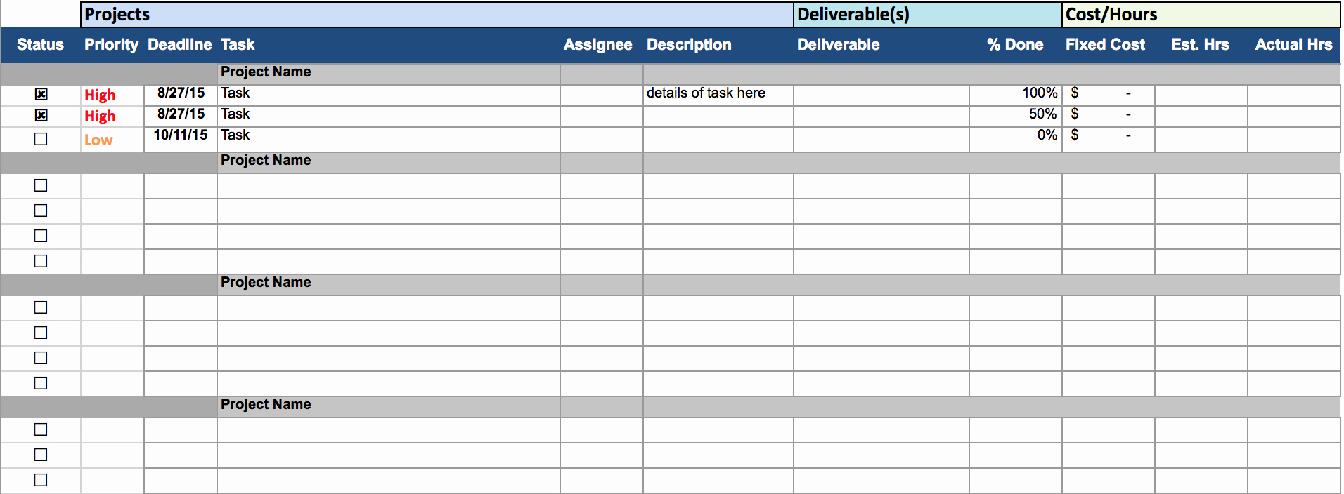 Project Task List Template Excel Elegant Multiple Project Tracking Template Excel