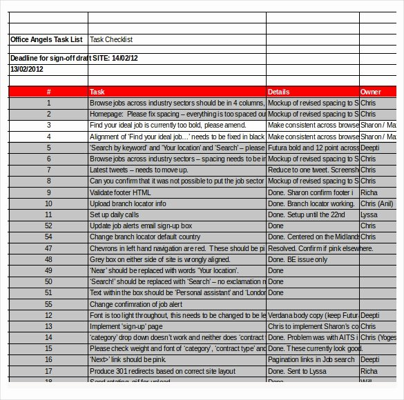 Project Task List Template Excel Lovely Task Checklist Template – 8 Free Word Excel Pdf