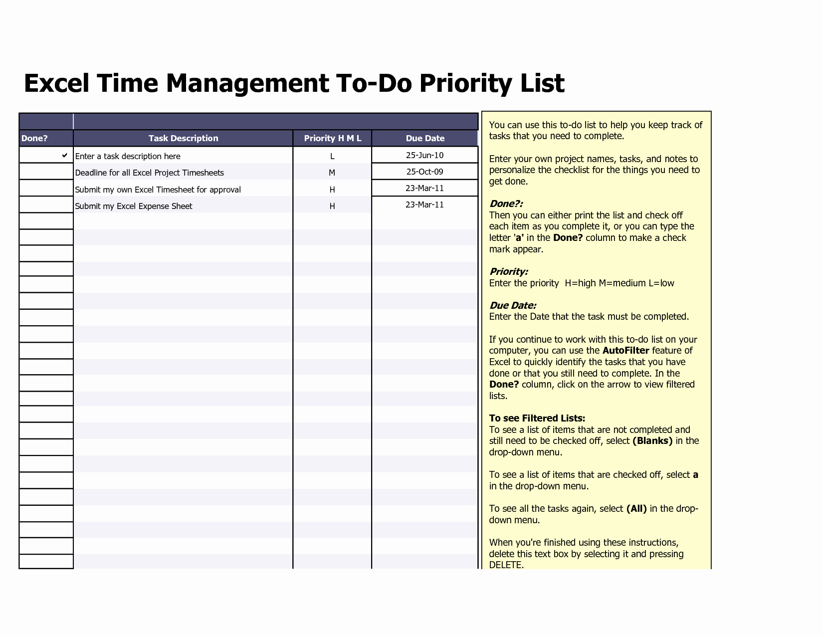 Project Task List Template Excel Unique to Do List Excel Template