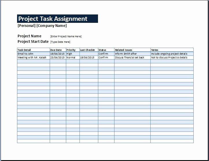 Project Task List Template Fresh Project Task assignment Management Sheet
