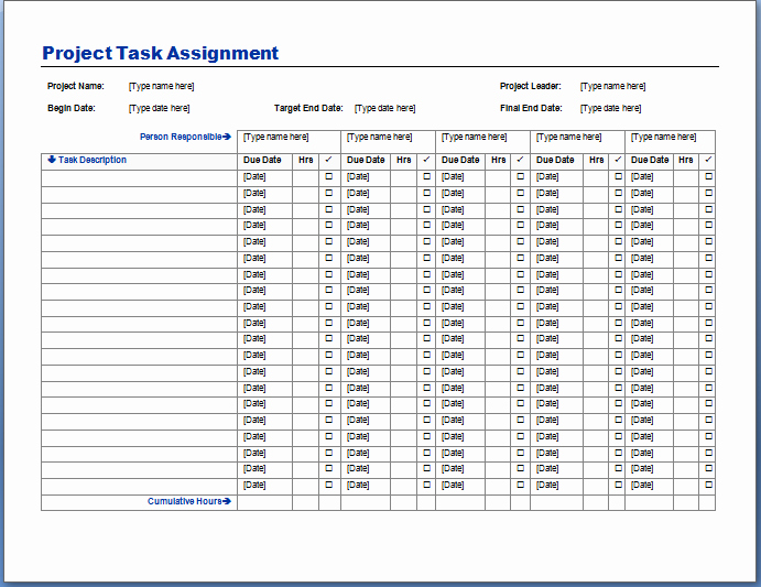 Project Task List Template Unique Project Task assignment Template format Example