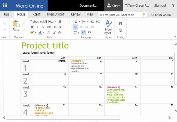 Project Timeline Template Word Elegant Project Timeline Calendar Template for Word