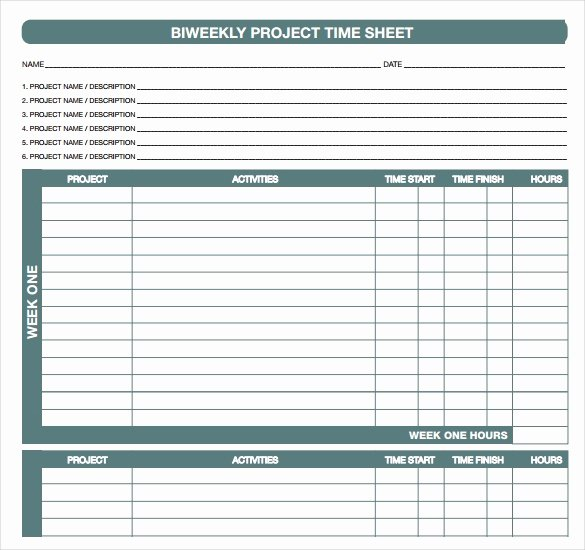 Project Timesheet Template Excel Elegant 18 Bi Weekly Timesheet Templates – Free Sample Example