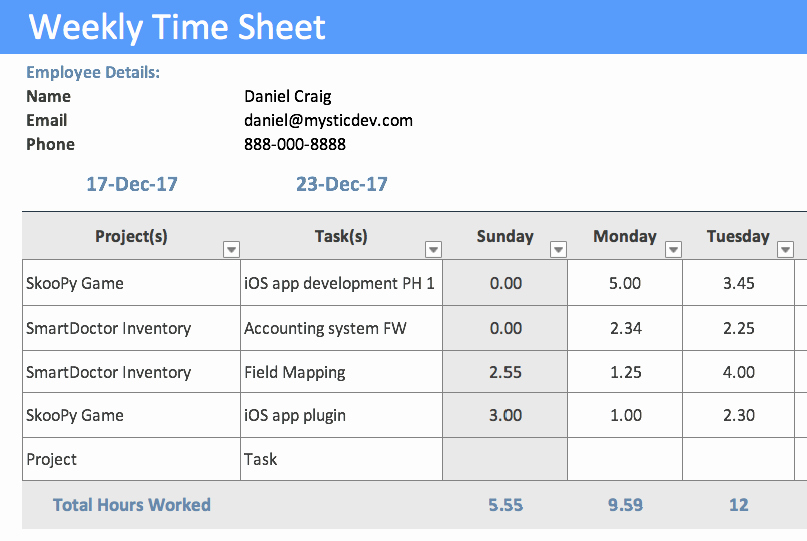 Project Timesheet Template Excel Inspirational Timesheet Template