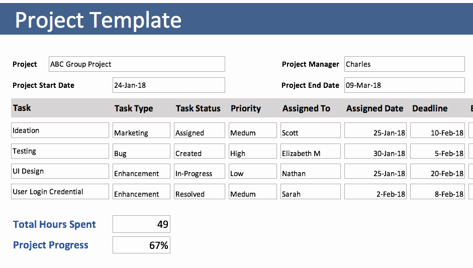 Project Timesheet Template Excel Lovely Project Tracking Template