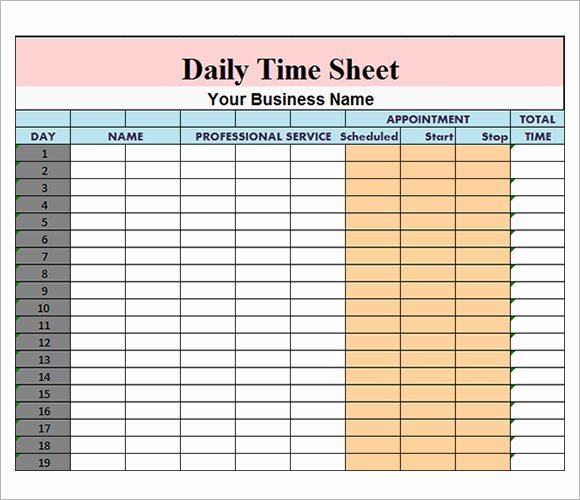 Project Timesheet Template Excel Luxury Daily Timesheet Template 10 Free Download for Pdf Excel